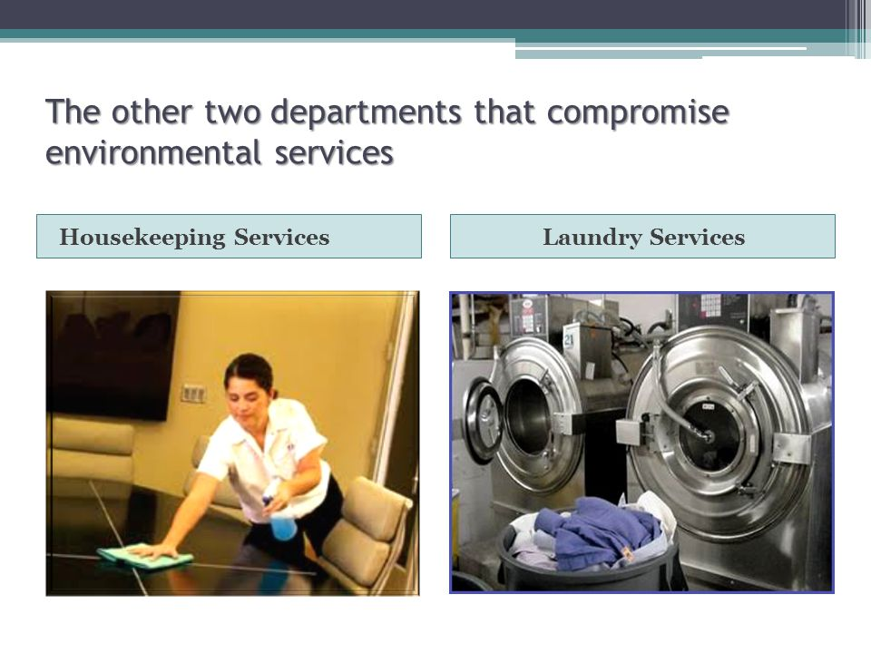 The other two departments that compromise environmental services Housekeeping ServicesLaundry Services