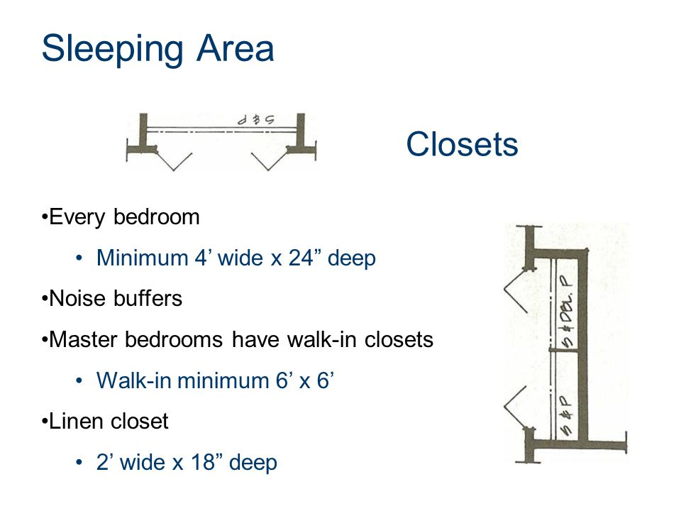 """Closets Every bedroom Minimum 4' wide x 24"""" deep Noise buffers Master bedrooms have walk-in closets Walk-in minimum 6' x 6' Linen closet 2' wide x 18"""""""