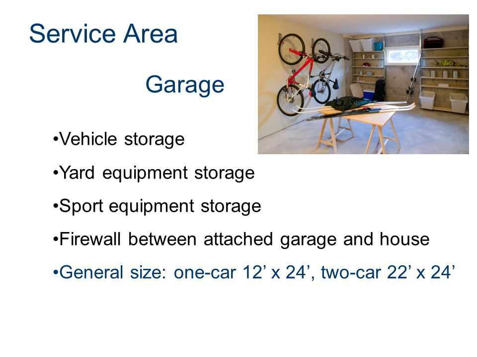 Garage Service Area Vehicle storage Yard equipment storage Sport equipment storage Firewall between attached garage and house General size: one-car 12