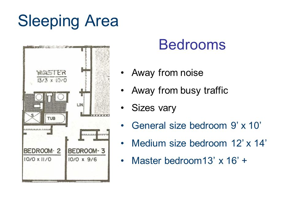 Closets Every bedroom Minimum 4' wide x 24 deep Noise buffers Master bedrooms have walk-in closets Walk-in minimum 6' x 6' Linen closet 2' wide x 18 deep Sleeping Area