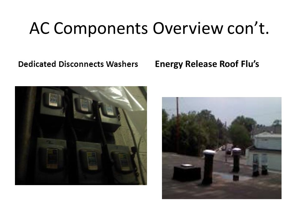 AC Components Overview con't. Dedicated Disconnects Washers Energy Release Roof Flu's