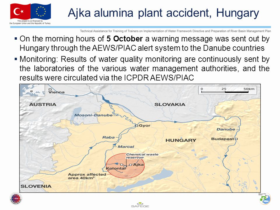  On the morning hours of 5 October a warning message was sent out by Hungary through the AEWS/PIAC alert system to the Danube countries  Monitoring: Results of water quality monitoring are continuously sent by the laboratories of the various water management authorities, and the results were circulated via the ICPDR AEWS/PIAC