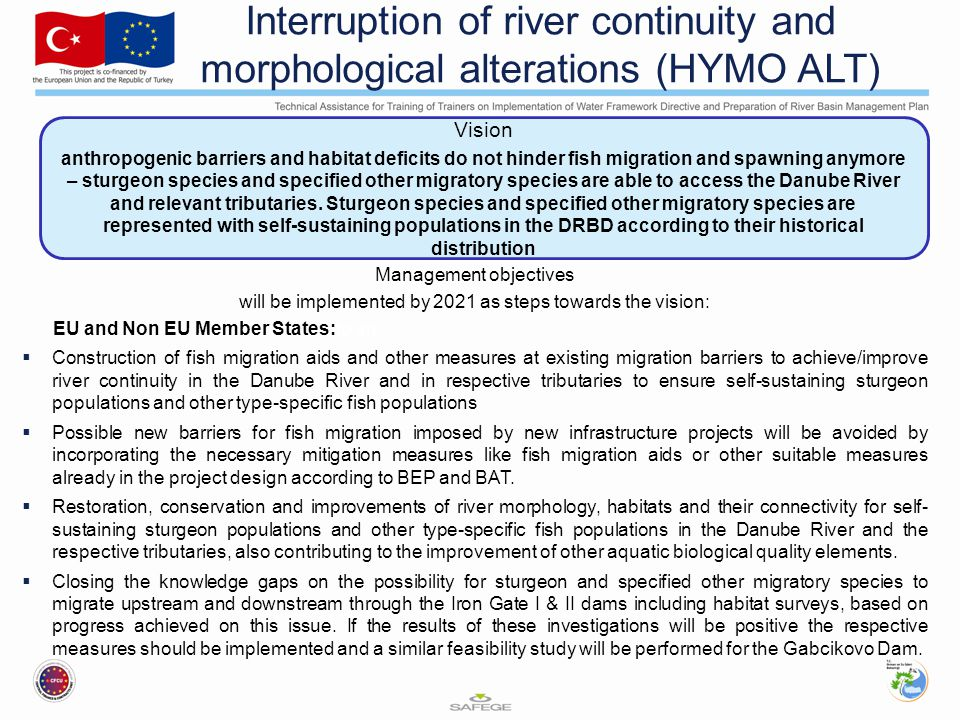 Interruption of river continuity and morphological alterations (HYMO ALT) Management objectives will be implemented by 2021 as steps towards the vision: EU and Non EU Member States:to an  Construction of fish migration aids and other measures at existing migration barriers to achieve/improve river continuity in the Danube River and in respective tributaries to ensure self-sustaining sturgeon populations and other type-specific fish populations  Possible new barriers for fish migration imposed by new infrastructure projects will be avoided by incorporating the necessary mitigation measures like fish migration aids or other suitable measures already in the project design according to BEP and BAT.