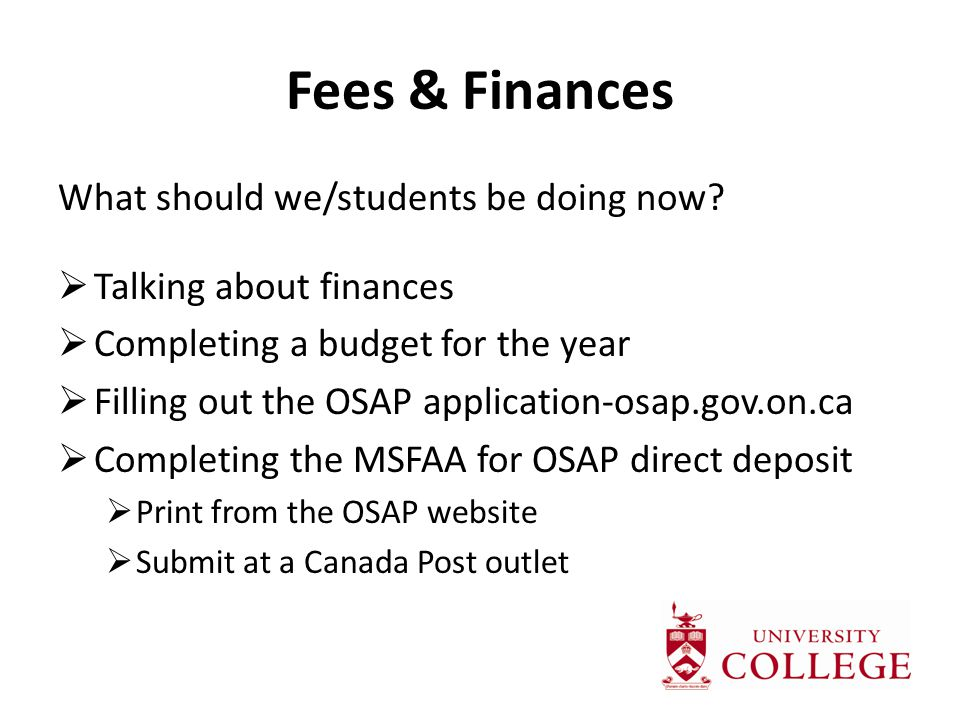 Fees & Finances What should we/students be doing now.