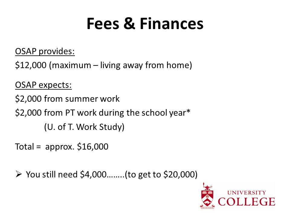 Fees & Finances OSAP provides: $12,000 (maximum – living away from home) OSAP expects: $2,000 from summer work $2,000 from PT work during the school year* (U.