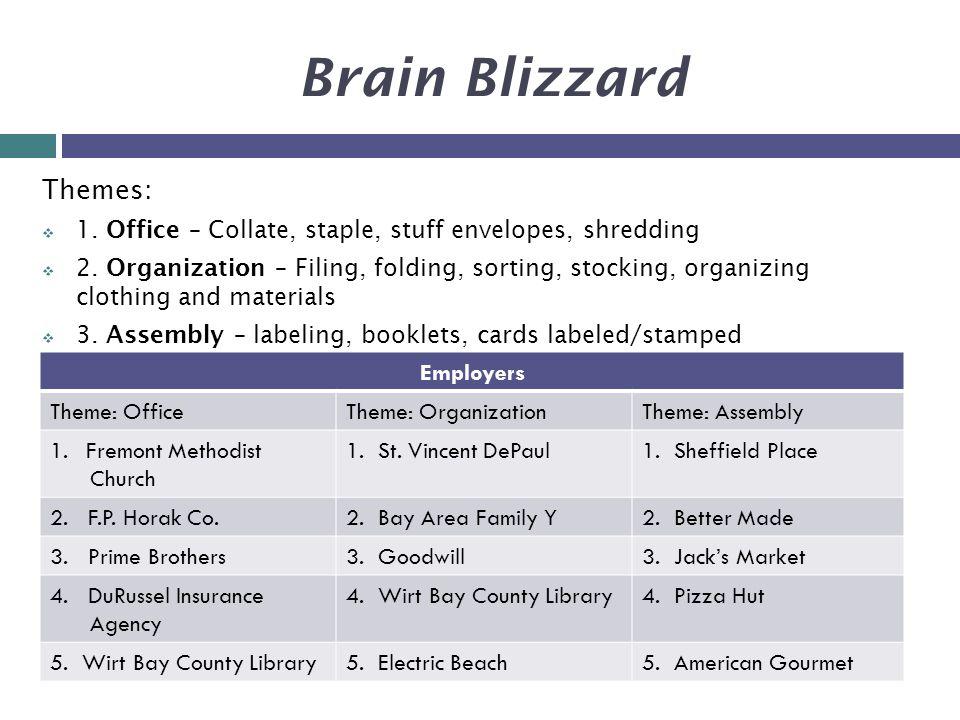 Brain Blizzard Themes:  1. Office – Collate, staple, stuff envelopes, shredding  2.