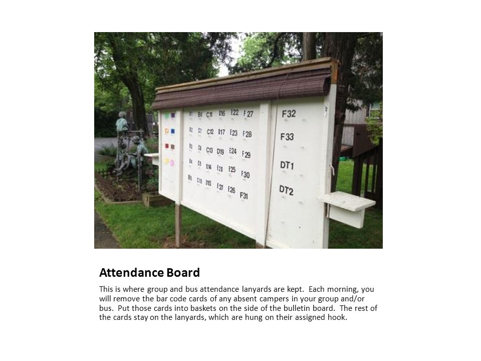 Attendance Board This is where group and bus attendance lanyards are kept.