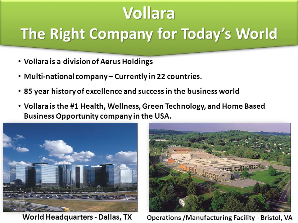 Vollara is a division of Aerus Holdings Multi-national company – Currently in 22 countries.