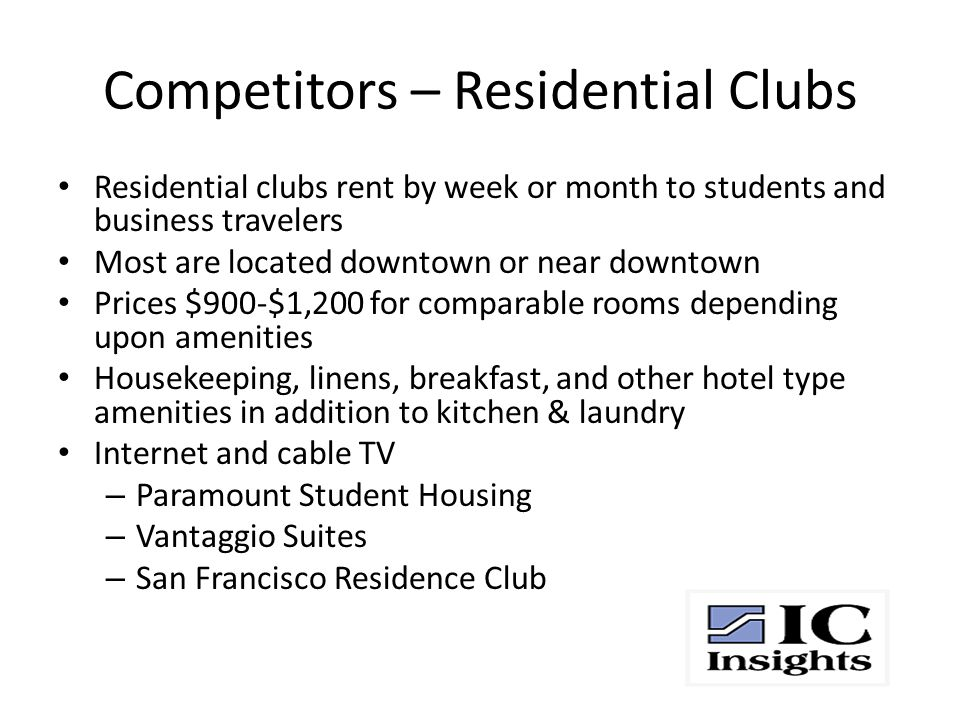 Competitors – Residential Clubs Residential clubs rent by week or month to students and business travelers Most are located downtown or near downtown Prices $900-$1,200 for comparable rooms depending upon amenities Housekeeping, linens, breakfast, and other hotel type amenities in addition to kitchen & laundry Internet and cable TV – Paramount Student Housing – Vantaggio Suites – San Francisco Residence Club