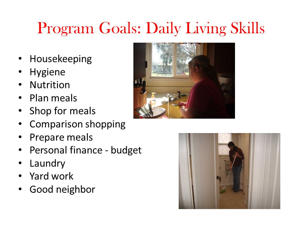 Program Goals: Daily Living Skills Housekeeping Hygiene Nutrition Plan meals Shop for meals Comparison shopping Prepare meals Personal finance - budge