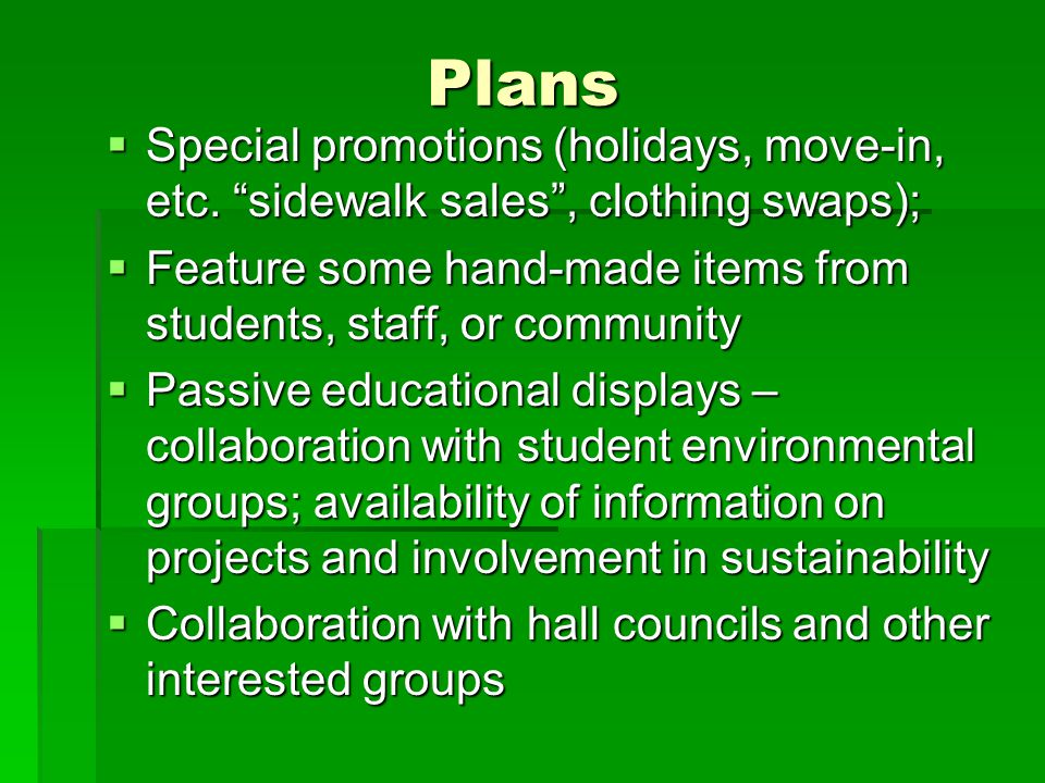 Plans  Special promotions (holidays, move-in, etc.
