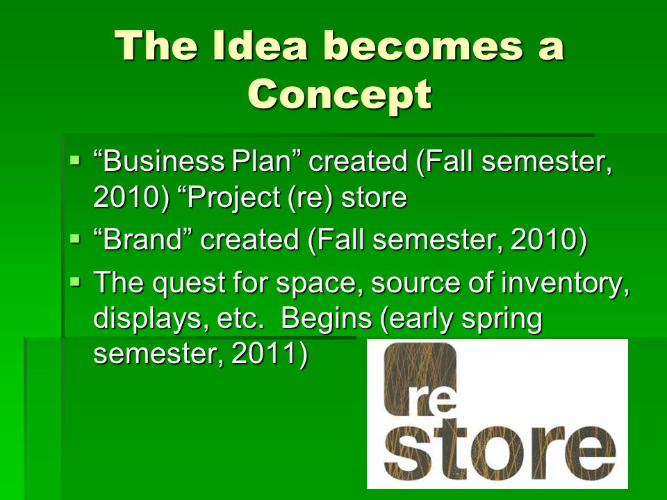 The Idea becomes a Concept  Business Plan created (Fall semester, 2010) Project (re) store  Brand created (Fall semester, 2010)  The quest for space, source of inventory, displays, etc.