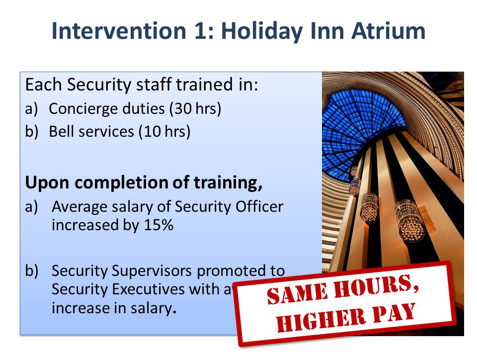 Intervention 1: Holiday Inn Atrium Same Hours, Higher Pay