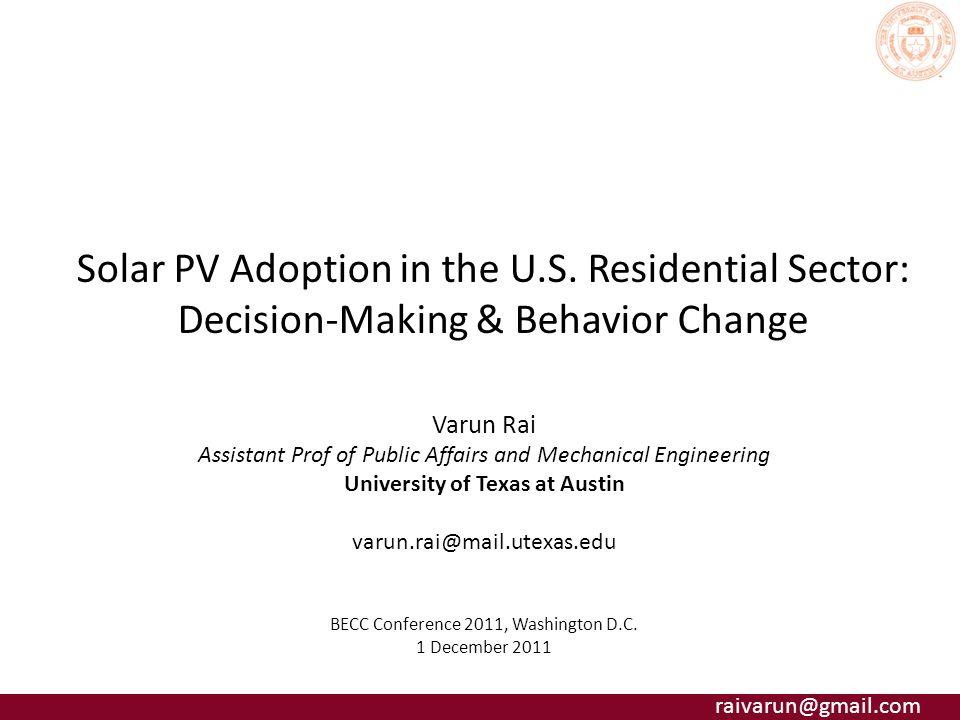 raivarun@gmail.com Solar PV Adoption in the U.S.