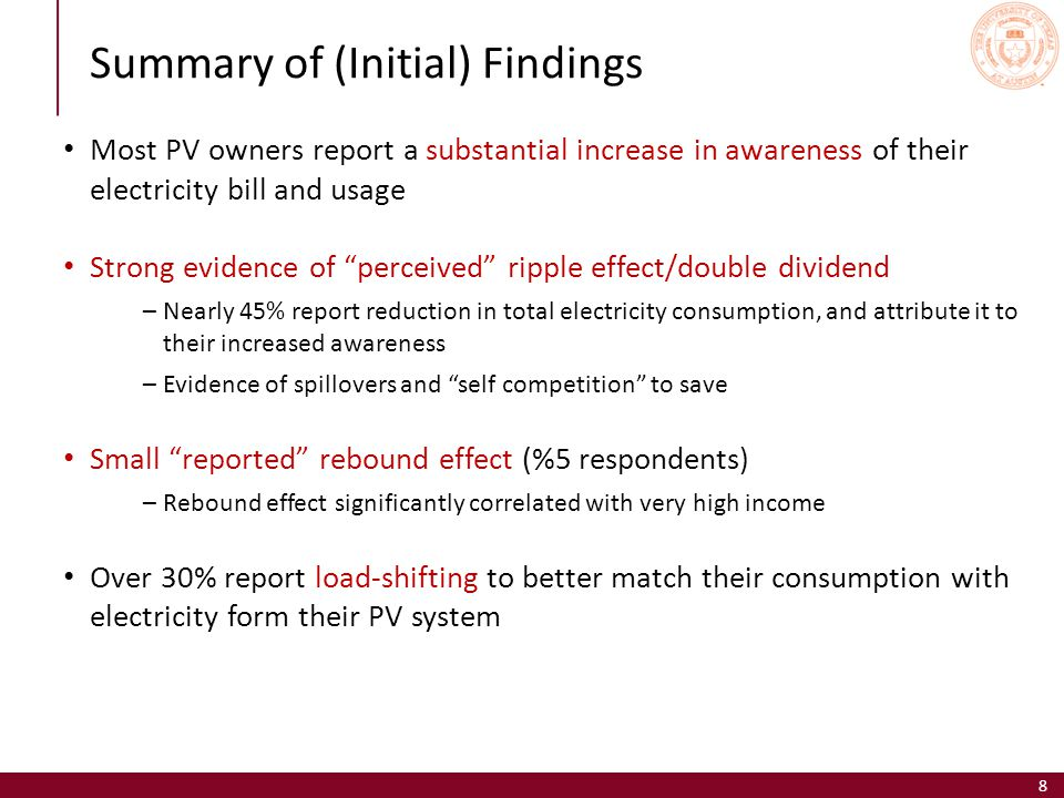 8 Summary of (Initial) Findings Most PV owners report a substantial increase in awareness of their electricity bill and usage Strong evidence of perceived ripple effect/double dividend –Nearly 45% report reduction in total electricity consumption, and attribute it to their increased awareness –Evidence of spillovers and self competition to save Small reported rebound effect (%5 respondents) –Rebound effect significantly correlated with very high income Over 30% report load-shifting to better match their consumption with electricity form their PV system