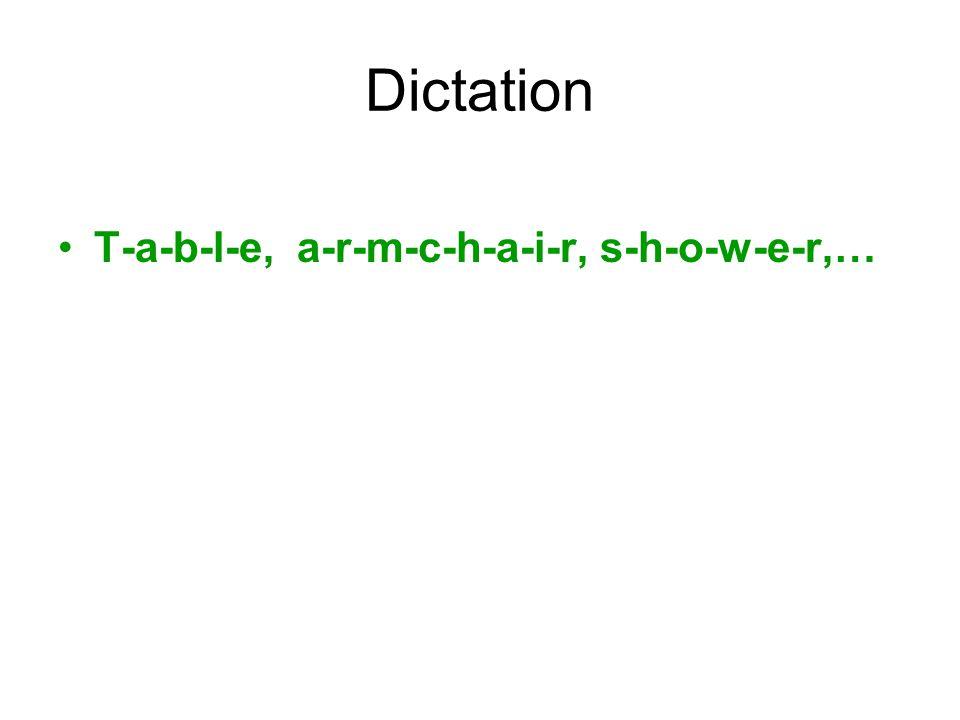 Dictation T-a-b-l-e, a-r-m-c-h-a-i-r, s-h-o-w-e-r,…