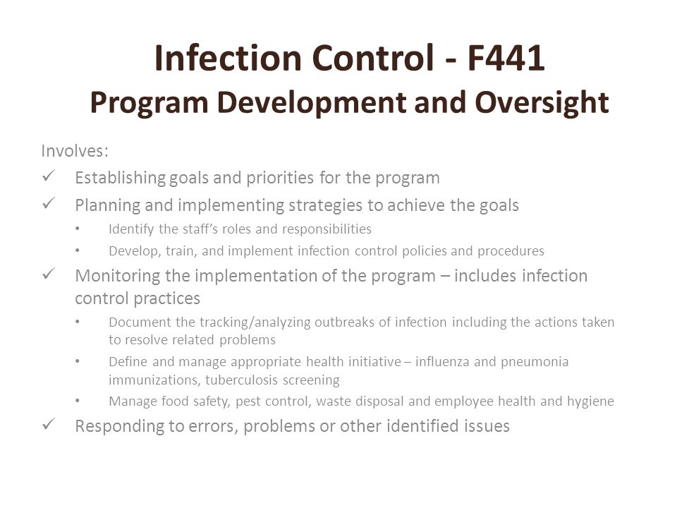 Infection Control - F441 MDRO's MDRO's found in facilities include (but not limited to) MRSA – Methicillin resistant staphylococcus aureus VRE – Vancomycin resistant enterococcus C.