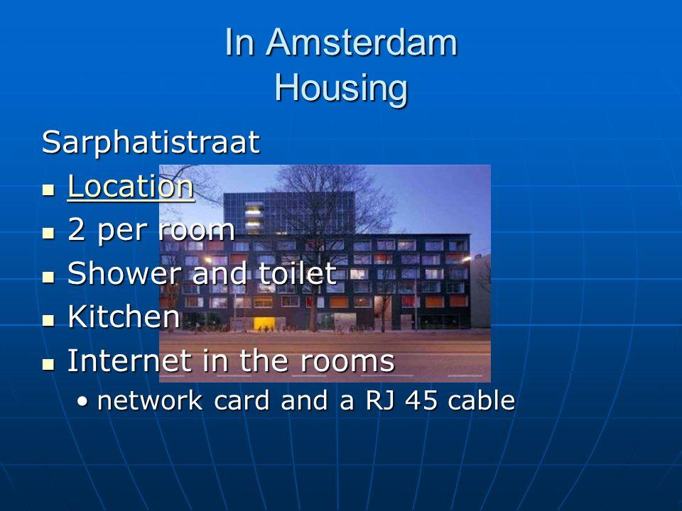 In Amsterdam Housing Sarphatistraat Location Location Location 2 per room 2 per room Shower and toilet Shower and toilet Kitchen Kitchen Internet in the rooms Internet in the rooms network card and a RJ 45 cablenetwork card and a RJ 45 cable