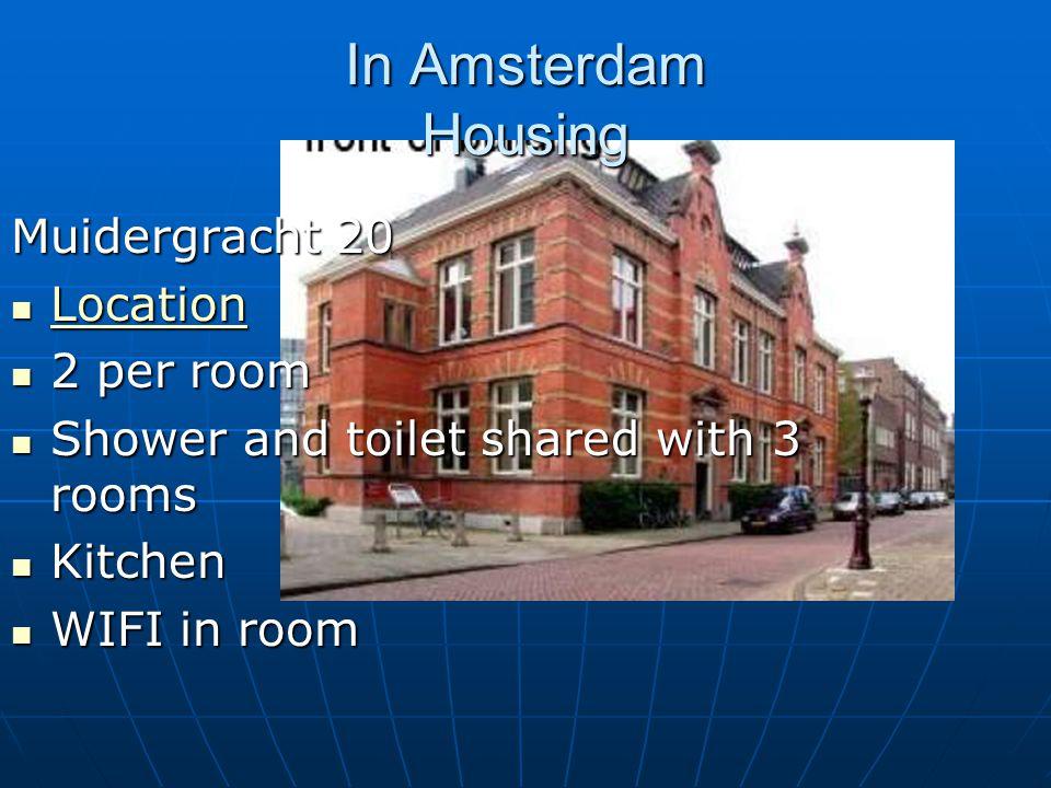 In Amsterdam Housing Muidergracht 20 Location Location Location 2 per room 2 per room Shower and toilet shared with 3 rooms Shower and toilet shared with 3 rooms Kitchen Kitchen WIFI in room WIFI in room