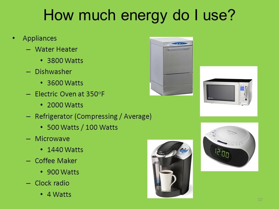 How much energy do I use? Appliances – Water Heater 3800 Watts – Dishwasher 3600 Watts – Electric Oven at 350 o F 2000 Watts – Refrigerator (Compressi