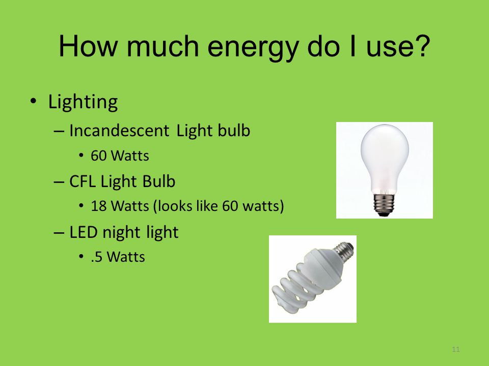 How much energy do I use? Lighting – Incandescent Light bulb 60 Watts – CFL Light Bulb 18 Watts (looks like 60 watts) – LED night light.5 Watts 11