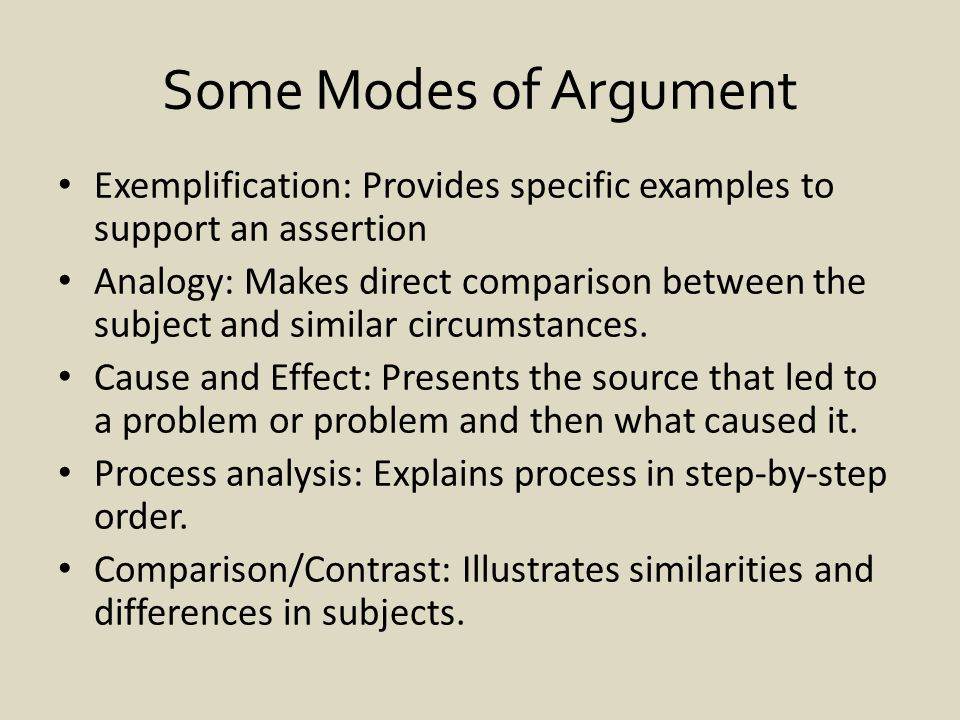 Some Modes of Argument Exemplification: Provides specific examples to support an assertion Analogy: Makes direct comparison between the subject and similar circumstances.