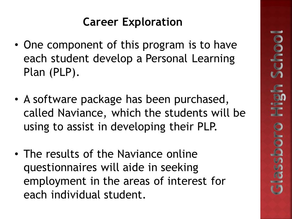 One component of this program is to have each student develop a Personal Learning Plan (PLP). A software package has been purchased, called Naviance,