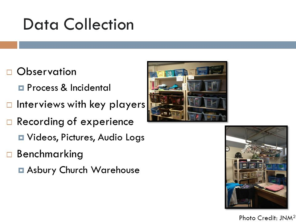 Data Collection  Observation  Process & Incidental  Interviews with key players  Recording of experience  Videos, Pictures, Audio Logs  Benchmarking  Asbury Church Warehouse Photo Credit: JNM 2