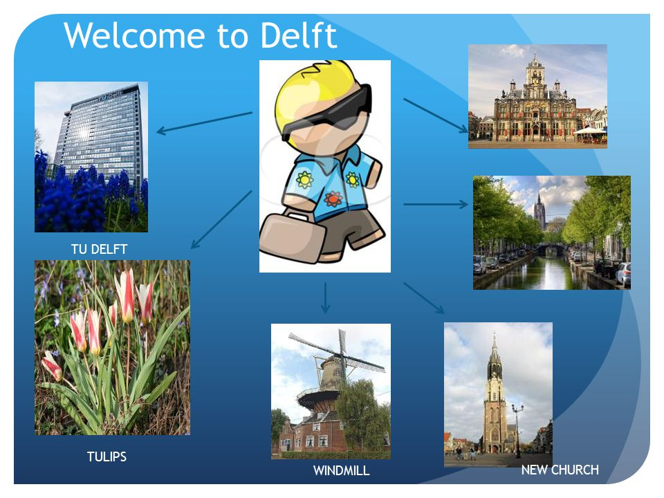 Welcome to Delft DELFT CANAL TU DELFT NEW CHURCH WINDMILL TULIPS
