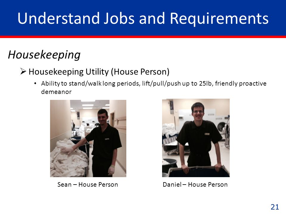 21 Understand Jobs and Requirements Housekeeping Daniel – House PersonSean – House Person  Housekeeping Utility (House Person) Ability to stand/walk long periods, lift/pull/push up to 25lb, friendly proactive demeanor
