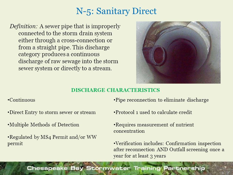 N-5: Sanitary Direct Definition: A sewer pipe that is improperly connected to the storm drain system either through a cross-connection or from a strai