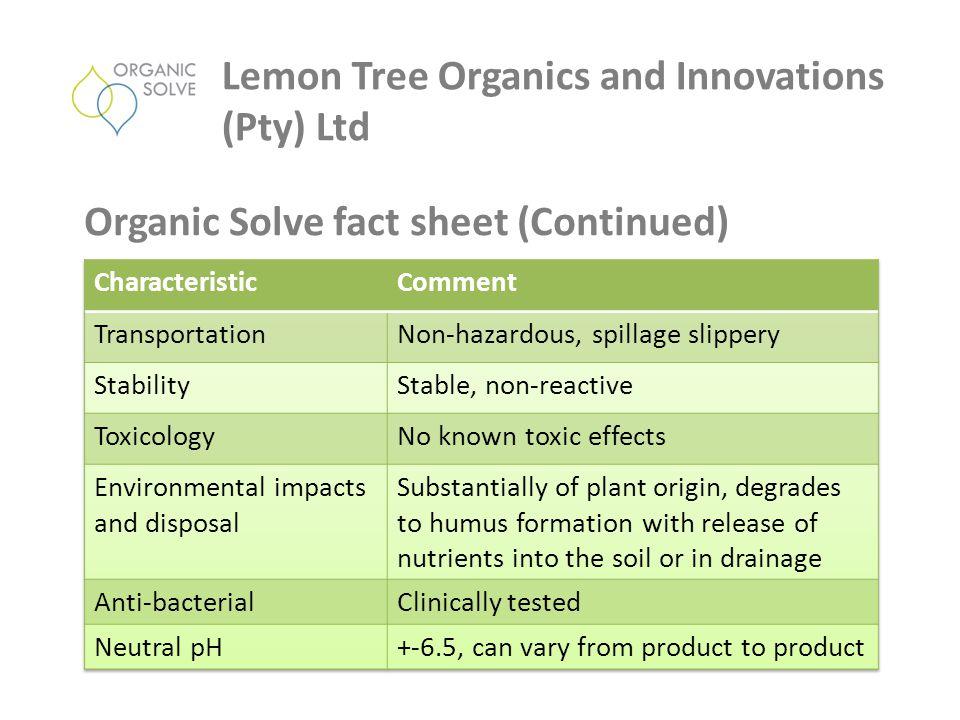 Lemon Tree Organics and Innovations (Pty) Ltd Organic Solve fact sheet (Continued)
