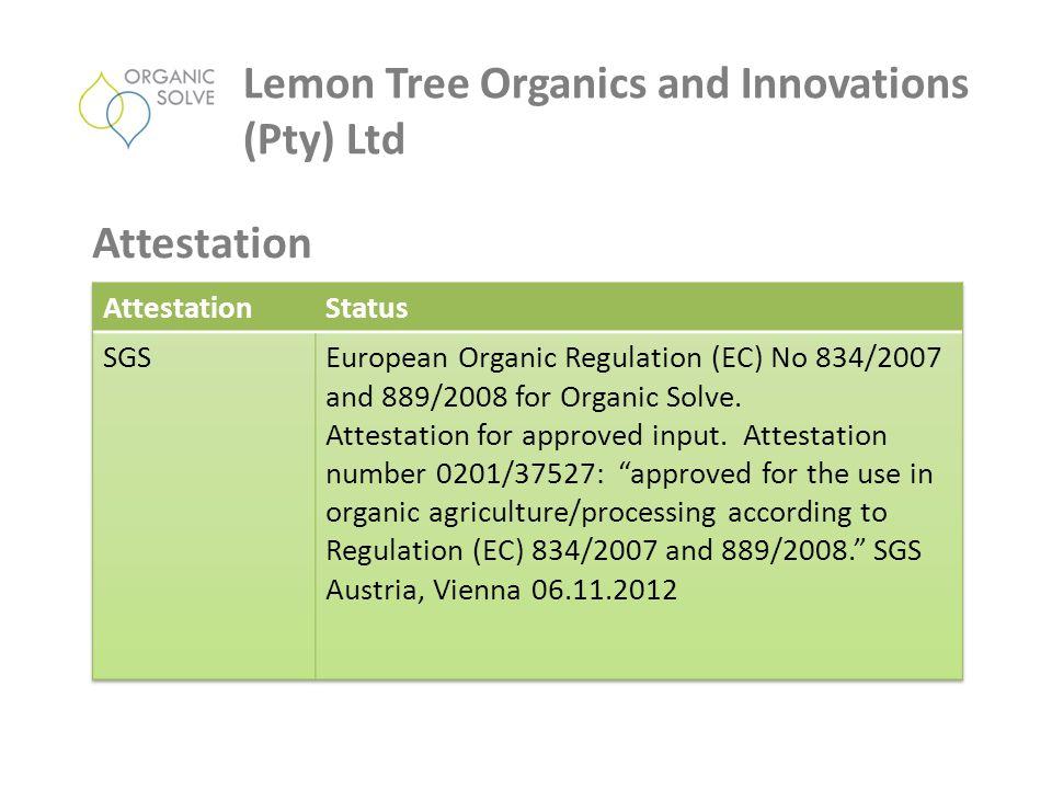 Lemon Tree Organics and Innovations (Pty) Ltd Attestation