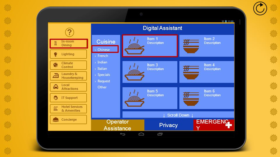 Digital Assistant ? Privacy In-room Dining Lighting Climate Control Local Attractions IT Support Hotel Services & Amenities Laundry & Housekeeping Con
