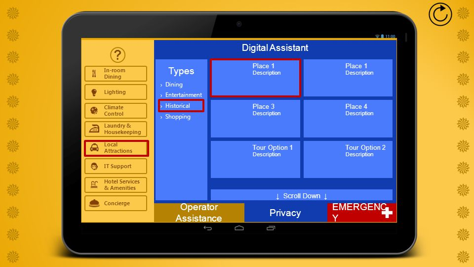   Digital Assistant ? Privacy In-room Dining Lighting Climate Control Local Attractions IT Support Hot