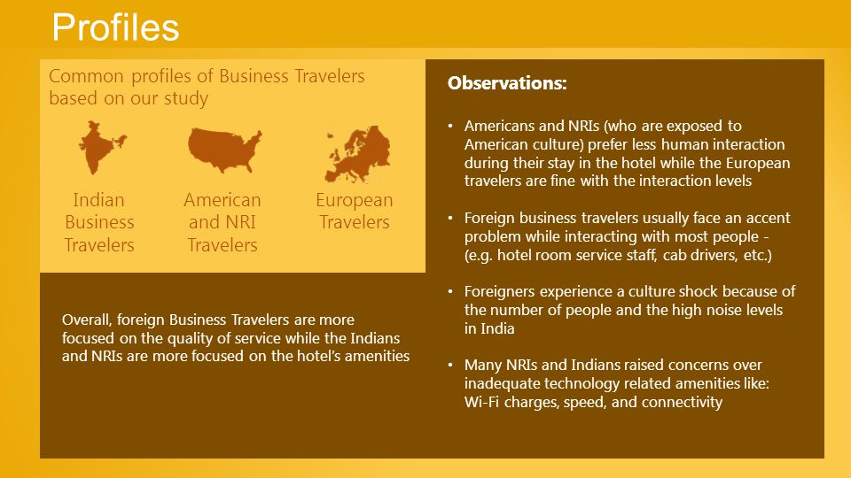 Profiles Common profiles of Business Travelers based on our study Observations: Americans and NRIs (who are exposed to American culture) prefer less human interaction during their stay in the hotel while the European travelers are fine with the interaction levels Foreign business travelers usually face an accent problem while interacting with most people - (e.g.