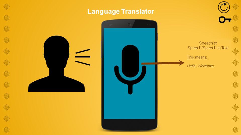 Speech to Speech/Speech to Text This means: Hello.