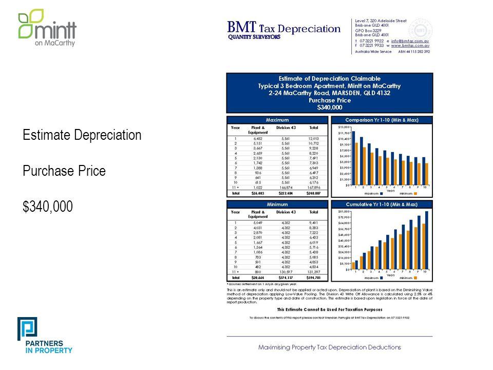 Estimate Depreciation Purchase Price $340,000