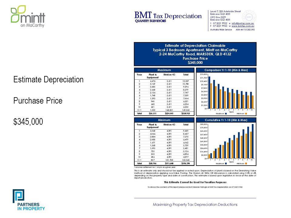 Estimate Depreciation Purchase Price $345,000