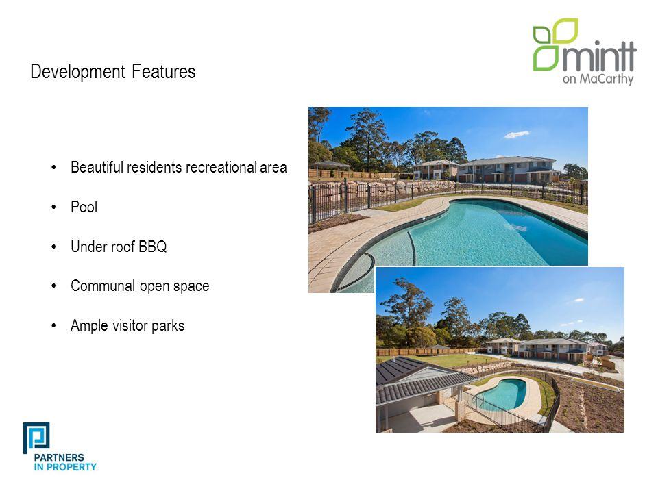 Beautiful residents recreational area Pool Under roof BBQ Communal open space Ample visitor parks Development Features