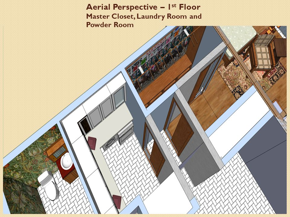 Aerial Perspective – 1 st Floor Master Closet, Laundry Room and Powder Room