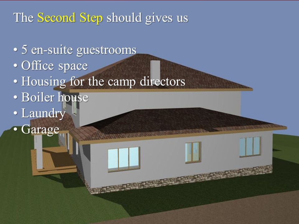The Second Step should gives us 5 en-suite guestrooms 5 en-suite guestrooms Office space Office space Housing for the camp directors Housing for the camp directors Boiler house Boiler house Laundry Laundry Garage Garage