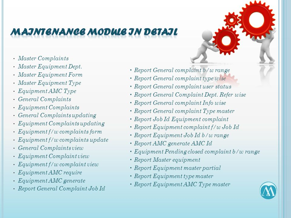 Master Complaints Master Equipment Dept. Master Equipment Form Master Equipment Type Equipment AMC Type General Complaints Equipment Complaints Genera
