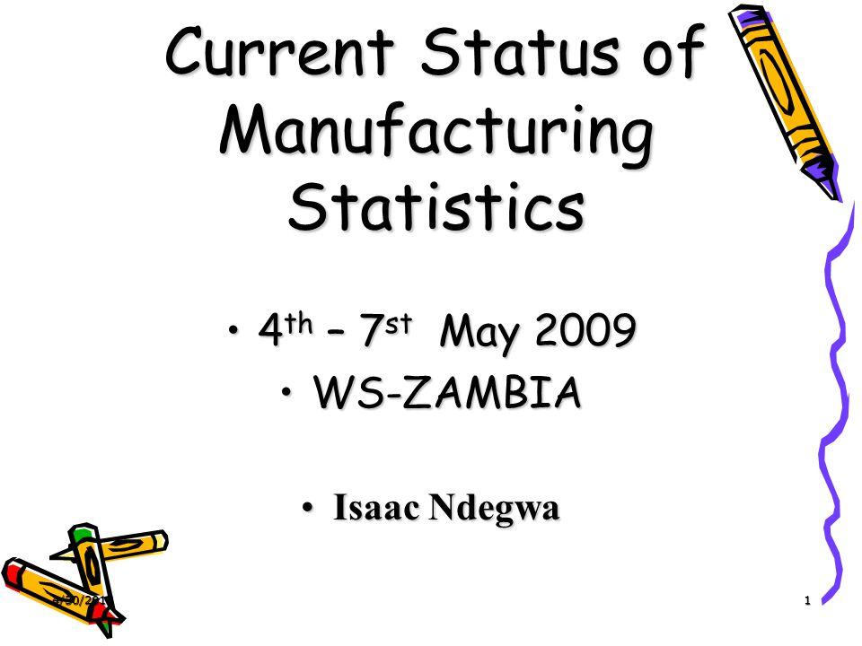 4/30/20151 Current Status of Manufacturing Statistics 4 th – 7 st May 20094 th – 7 st May 2009 WS-ZAMBIAWS-ZAMBIA Isaac NdegwaIsaac Ndegwa