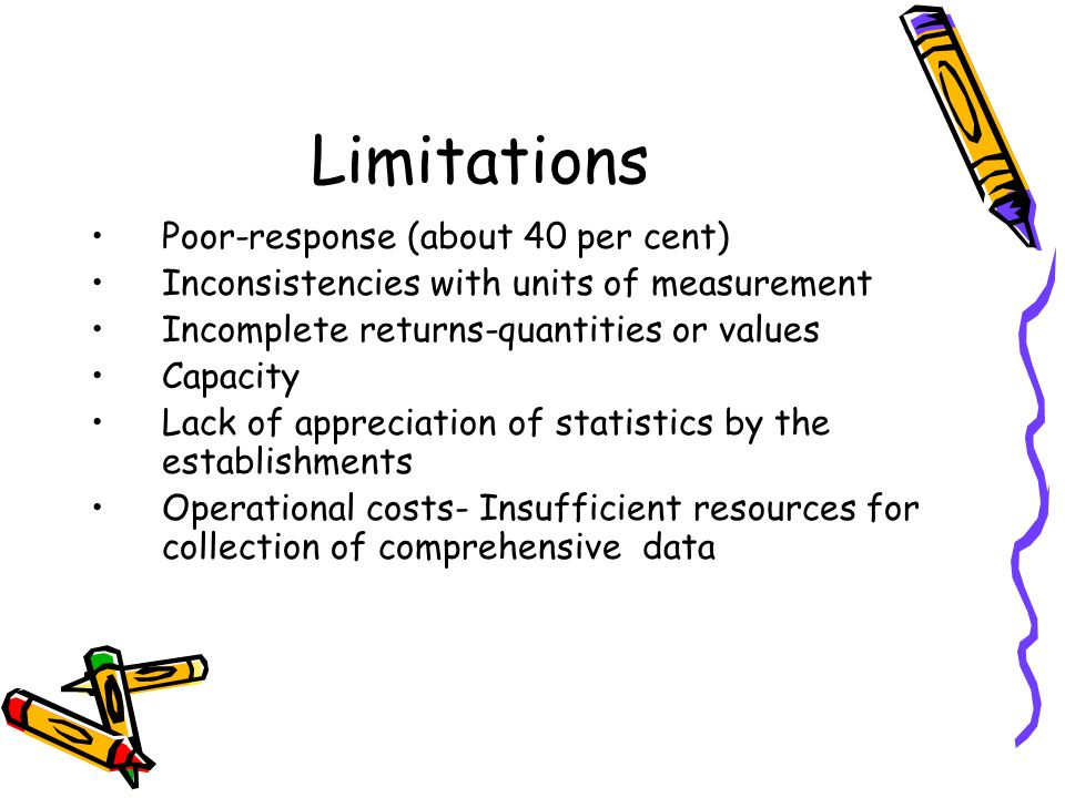 Limitations Poor-response (about 40 per cent) Inconsistencies with units of measurement Incomplete returns-quantities or values Capacity Lack of appre