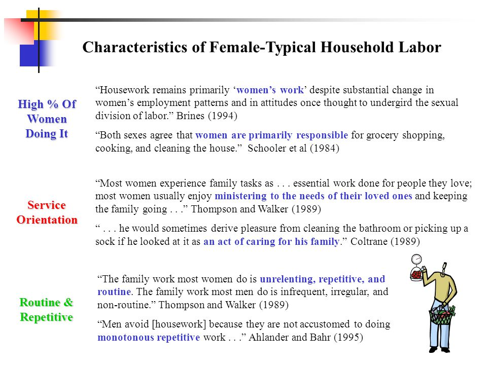 Characteristics of Female-Typical Household Labor Most women experience family tasks as...