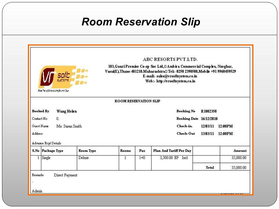 Room Reservation Slip