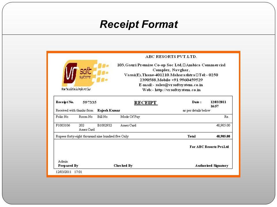 Receipt Format