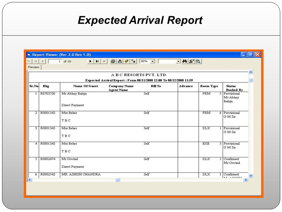 Expected Arrival Report
