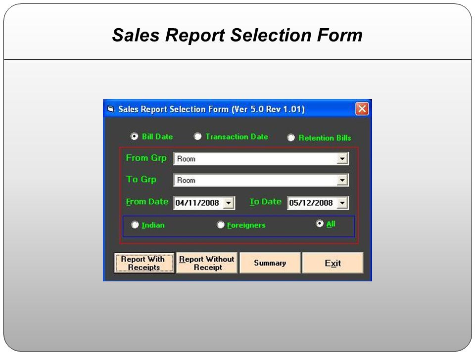 Sales Report Selection Form
